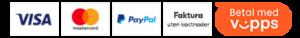 Her kan du betale med: VISA, MasterCard, Vipps, Faktura, PayPal